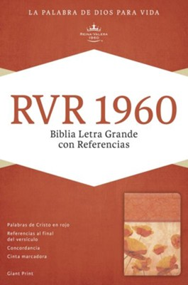 RVR 1960 Biblia Letra Grande con Referencias, damasco y coral s&#237mil piel, RVR 1960 Giant Print Reference Bible, Damask and Coral LeatherTouch  -