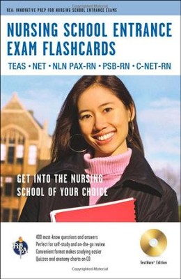 Nursing School Entrance Exams Flashcard Book Premium Edition w/CDROM  -