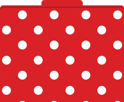 Red & White Dots File Folders   -