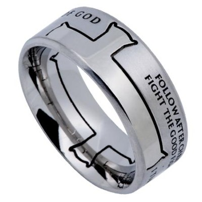 Man of God Iron Cross Men's Ring Silver, Size 10 (1Timothy 6:11)  -