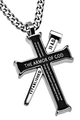Armor of God Established Cross Necklace, Black  -