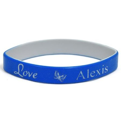 Personalized, Love Wristband, With Name and Butterfly,  Blue  -