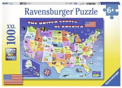 USA State Map Puzzle, 100 Pieces  -