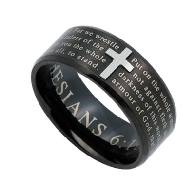Armor of God, Logos Ring Black, Size 10   -