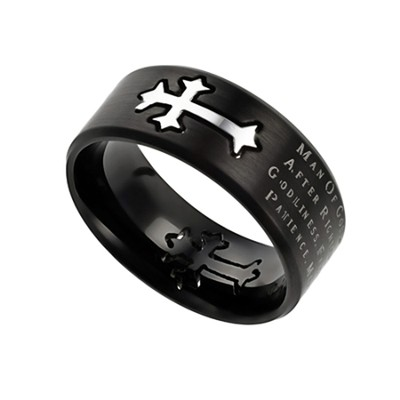 Man of God Neo Cross Scripture Men's Ring, Black, Size 14 (1Timothy 6:11)  -