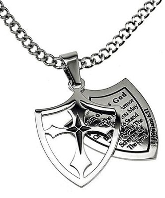 Armor of God Full Shield Cross Necklace  -