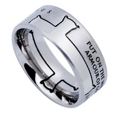 Armor of God Iron Cross Men's Ring Silver, Size 11 (Ephesians 6:11)  -