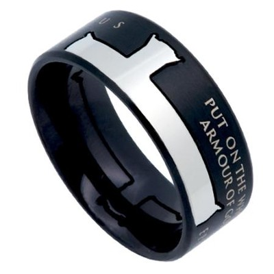 Armor of God, Iron Cross Ring Black, Size 9   -