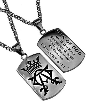 Man of God Alpha Omega Dog Tag  -