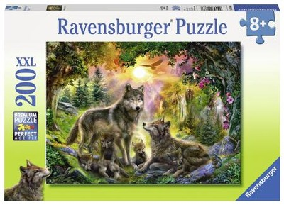 Wolf Family in the Sun Puzzle, 200 Pieces  -
