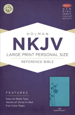NKJV Large Print Personal Size Reference Bible, Teal LeatherTouch  -