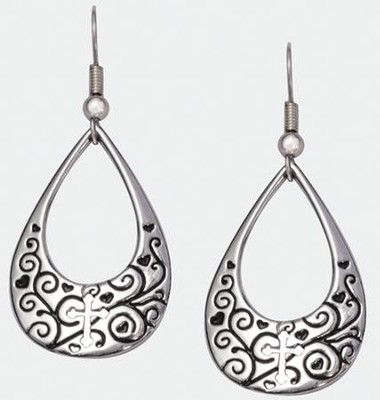 Tear Drop with Cross Earrings   -