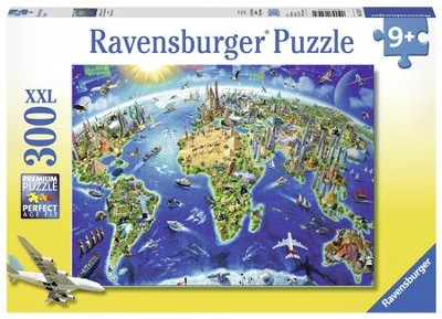World Landmarks Map Puzzle, 300 Pieces  -
