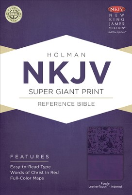 NKJV Super Giant Print Reference Bible, Purple LeatherTouch, Thumb-Indexed  -