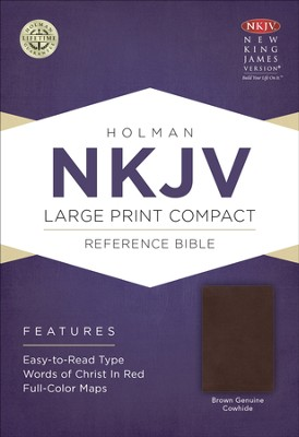 NKJV Large Print Compact Reference Bible, Brown Genuine Cowhide  -