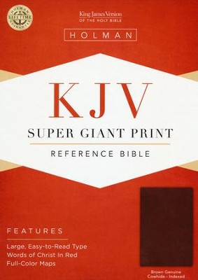 KJV Super Giant Print Reference Bible, Brown Genuine Cowhide, Thumb-Indexed  -