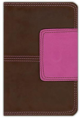 KJV Compact Ultrathin Bible, Brown and Pink Leathertouch with Magnetic Flap  -