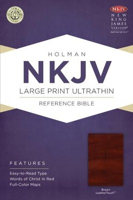 NKJV Large Print UltraThin Reference Bible, Brown LeatherTouch  -
