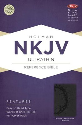 NKJV UltraThin Reference Bible, Charcoal LeatherTouch, Thumb-Indexed  -