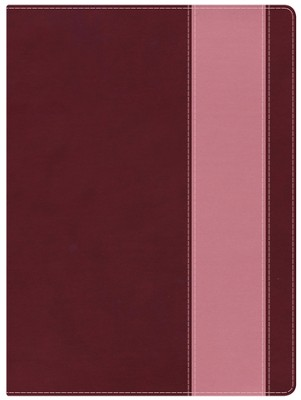 Holman Study Bible: NKJV Edition, Crimson & Coral LeatherTouch, Thumb-Indexed  -