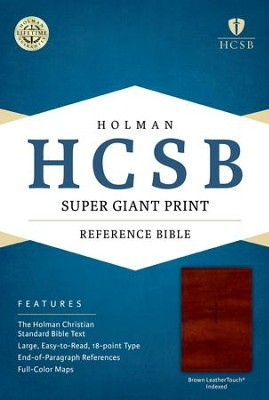 HCSB Super Giant Print Reference Bible, Brown LeatherTouch  -