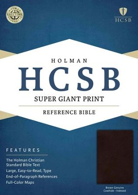 HCSB Super Giant Print Reference Bible, Brown Genuine Cowhide, Thumb-Indexed  -