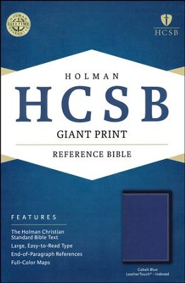 HCSB Giant Print Reference Bible--soft leather-look cobalt blue (indexed)  -