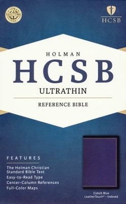 HCSB Ultrathin Reference Bible--soft leather-look, cobalt blue (indexed)  -