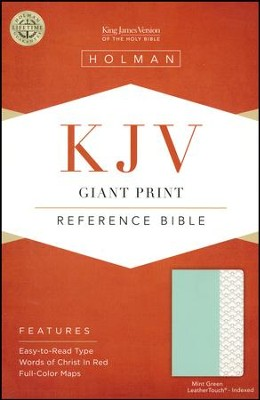 KJV Giant-Print Reference Bible--soft leather-look, mint green (indexed)  -