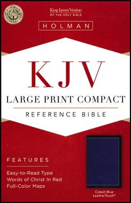 KJV Large-Print Compact Reference Bible--soft leather-look, cobalt blue  -