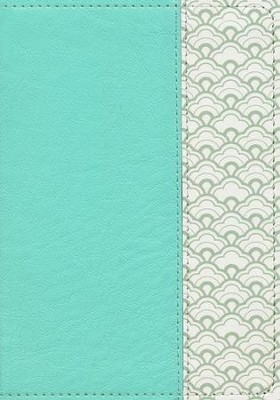 NKJV Large-Print Compact Reference Bible--soft leather-look, mint green  -