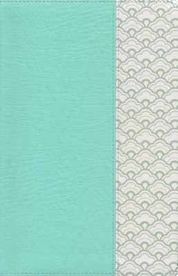 NKJV Large-Print Personal-Size Reference Bible--soft leather-look, mint green (indexed)  -