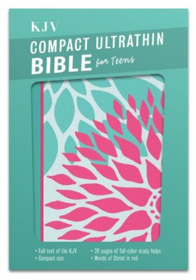 KJV Compact Ultrathin Bible for Teens, Green Blossoms LeatherTouch  -