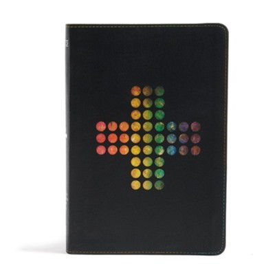NIV Rainbow Study Bible, Pierced Cross LeatherTouch, Thumb-Indexed  -