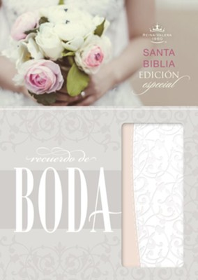 RVR 1960 Biblia Recuerdo de Boda, filigrana blanca con rosa palo simil piel (RVR 1960 Keepsake Bride's Bible, White Filigree with Blush LeatherTouch)  -