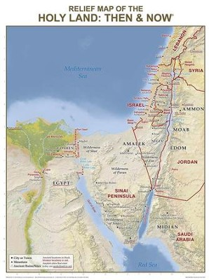 Holy Land Relief Map: Then and Now Wall Chart - Laminated   -