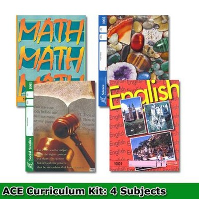 ACE Core Curriculum (4 Subjects), Single Student Complete  PACE Kit, Grade 1, 3rd Edition (with 4th Edition Science &  Social Studies)  -