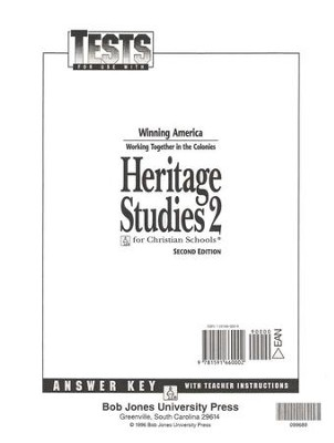 BJU Heritage Studies, Tests Answer Key   -