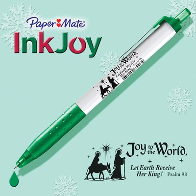 Inkjoy Pen, White and Green  -