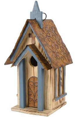 Blue Church Birdhouse  -