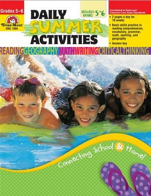 Daily Summer Activities, Moving from 5th to 6th Grade   -