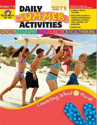 Daily Summer Activities, Moving from 7th to 8th Grade   -