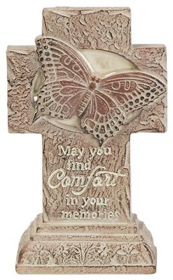May You Find Comfort In Your Memories, Mini Pedestal Cross  -