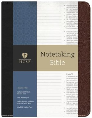 HCSB Notetaking Bible--bonded leather, black/brown  -