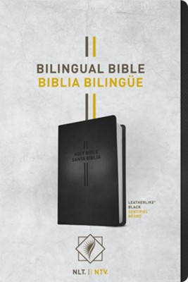 Biblia Bilingüe NLT/NTV, Piel Imitada, Black  (NLT/NTV Bilingual Bible, Imitation Leather, Black)  -     By: Tyndale