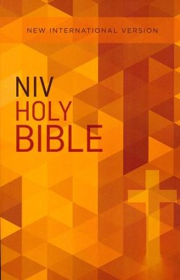 NIV Value Outreach Bible Orange Geometric, Paperback, Case of 32  -