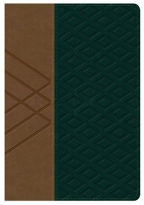 Biblia RVR 1960 Letra Gde. Ref. Tam. Manual, Piel Sim. Tan/Verde  (RVR 1960 Hand-Size Lge. Print Ref. Bible, Tan/Green Leather)  -