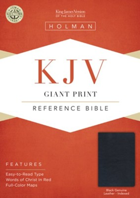 KJV Giant Print Reference Bible, Black Genuine Leather, Thumb-Indexed  -