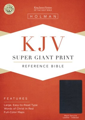 KJV Super Giant Print Reference Bible, Black Genuine Leather, Thumb-Indexed  -