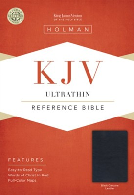 KJV UltraThin Reference Bible, Black Genuine Leather  -